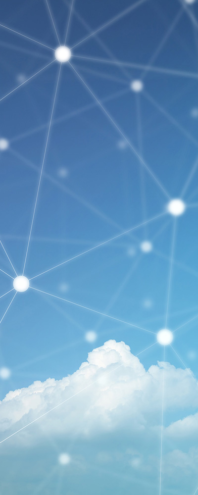 Clear blue sky with cloud and connected points of light.